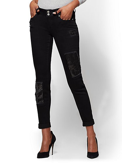 Soho Jeans - Sequin-Accent Boyfriend Jean - Black - New York & Company