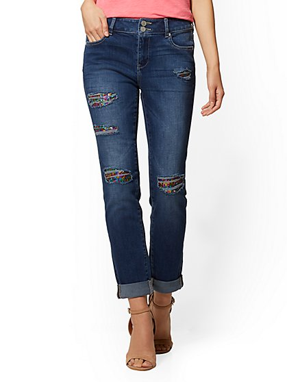 Soho Jeans - Sequin High-Waist Boyfriend Jean - Glowing Blue - New York & Company