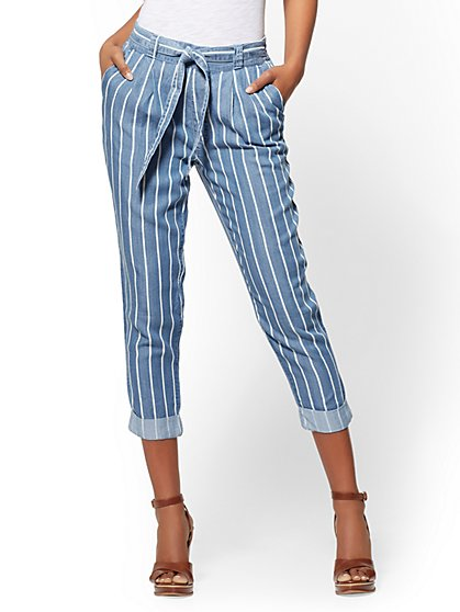 Soho Jeans - Striped Ultra-Soft Chambray Crop - New York & Company