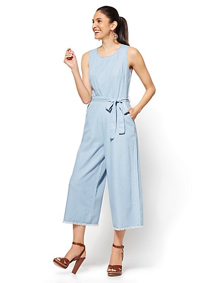 Soho Jeans - Ultra-Soft Chambray Jumpsuit - Indigo Blue Wash - New York & Company