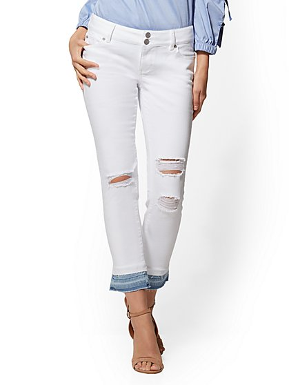 Soho Jeans - White Released Hem Boyfriend - New York & Company