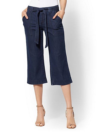 Soho Jeans - Wide-Leg Gaucho Pant - Dark Wash - New York & Company