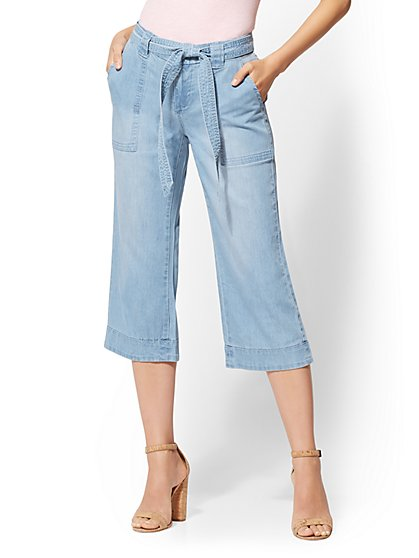 Soho Jeans - Wide-Leg Gaucho Pant - Medium Blue - New York & Company