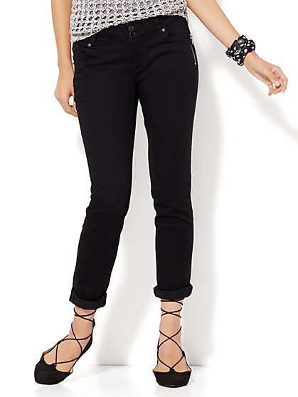Soho Jeans - Zip-Accent Boyfriend - Black - New York & Company