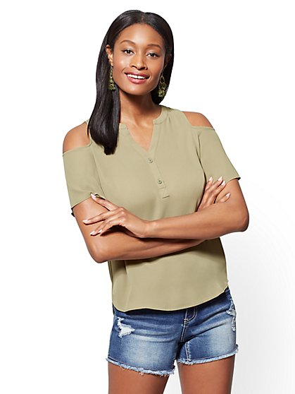 Soho Soft Shirt - Bell-Sleeve Cold-Shoulder Blouse - New York & Company