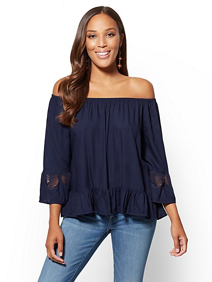 Soho Soft Shirt - Crochet-Detail Off-The-Shoulder Top - New York & Company
