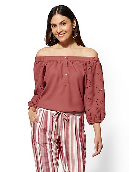 Soho Soft Shirt - Eyelet Off-The-Shoulder Blouse - New York & Company
