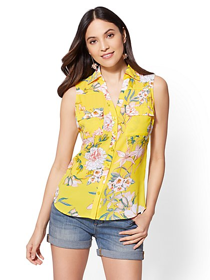 Soho Soft Shirt - Floral Envelope Back - New York & Company