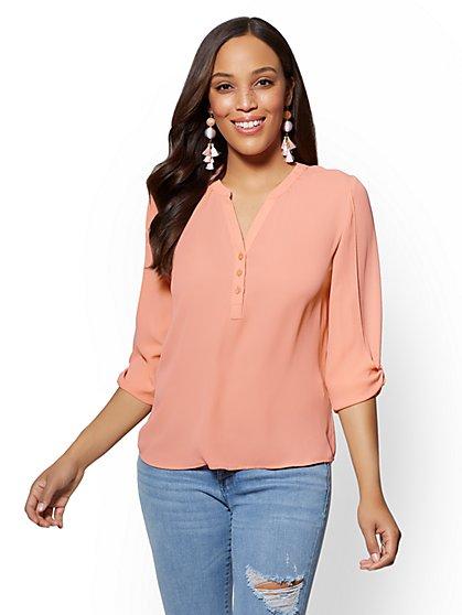 Soho Soft Shirt - Knot-Sleeve Split-Neck Blouse - New York & Company