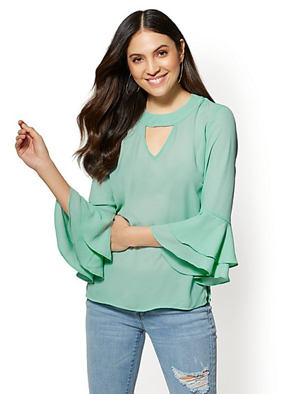 Soho Soft Shirt - Ruffled-Cuffs Choker Blouse - New York & Company