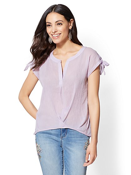 Soho Soft Shirt - Split-Neck Twist-Front Blouse - New York & Company