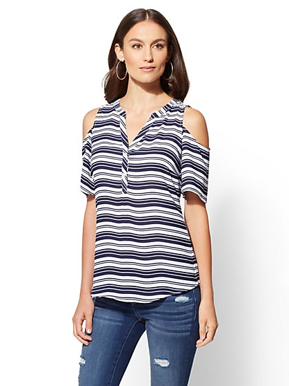 Soho Soft Shirt - Striped Cold-Shoulder Blouse - New York & Company
