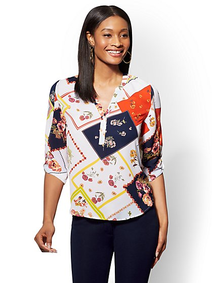 Soho Soft Shirt - White Mixed-Print Split-Neck Blouse - New York & Company