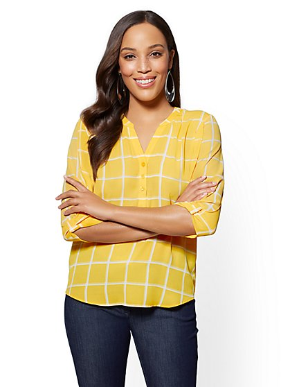 Soho Soft Shirt - Windowpane-Check Split-Neck Blouse - New York & Company