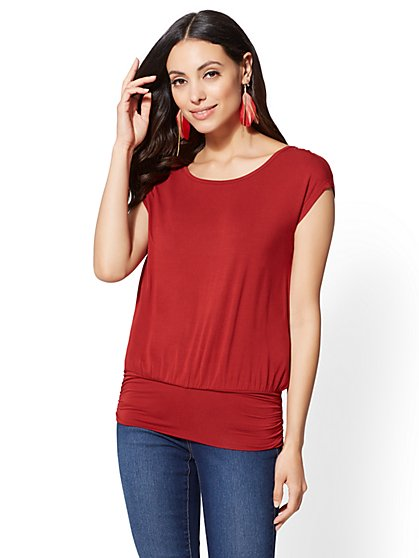 Soho Soft Tee - Dolman Scoopneck Top - New York & Company