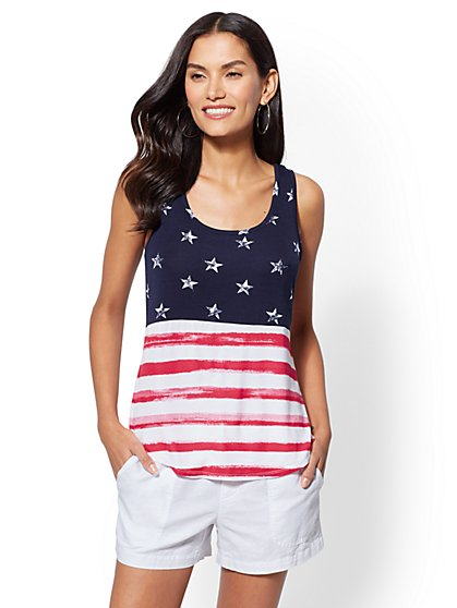 Soho Soft Tee - Flag-Print Tank Top - New York & Company