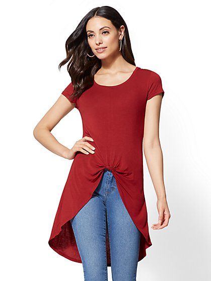 Soho Soft Tee - Knot-Detail Hi-Lo Top - New York & Company
