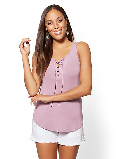 Soho Soft Tee - Lace-Up Tank Top - New York & Company