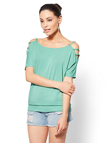 Soho Soft Tee - Ladder-Accent Cold-Shoulder Top - New York & Company