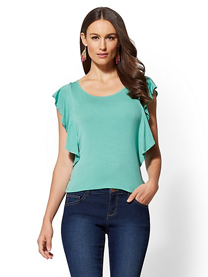 Soho Soft Tee - Ruffled-Sleeve Top - New York & Company