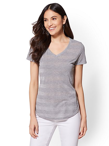 Soho Soft Tee - Shimmer Stripe V-Neck Top - New York & Company
