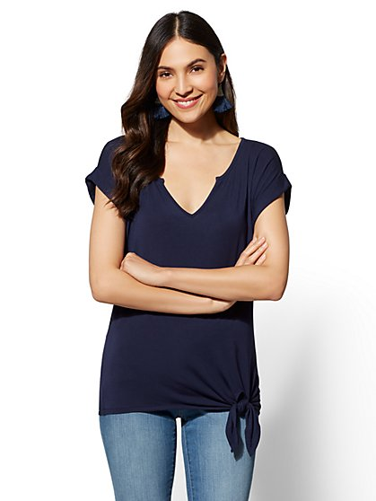Soho Soft Tee - Split-Neck Side Tie - New York & Company