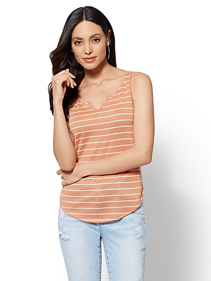 Soho Soft Tee - Split-Neck Tank Top - New York & Company