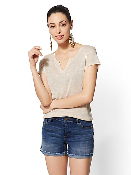 Soho Soft Tee - Split-Neck Top - New York & Company