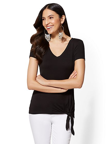 Soho Soft Tee - Tie-Front Top - New York & Company