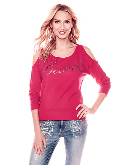 "Soho Street - ""Beauty"" Cold-Shoulder Graphic Logo Sweatshirt - Pink - New York & Company"