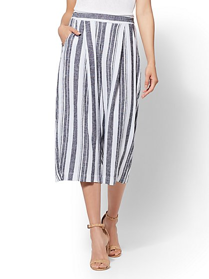 Soho Street - Black Striped Linen Gaucho Pant - New York & Company