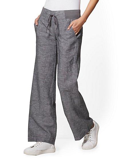 Soho Street - Black Wide-Leg Linen Pant - New York & Company