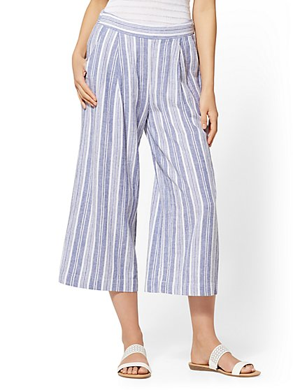 Soho Street - Blue Striped Linen Gaucho Pant - New York & Company