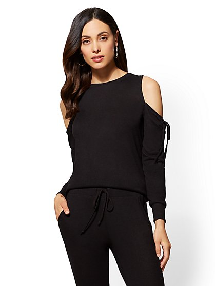 Soho Street - Cold-Shoulder Lace-Up Sweater - New York & Company