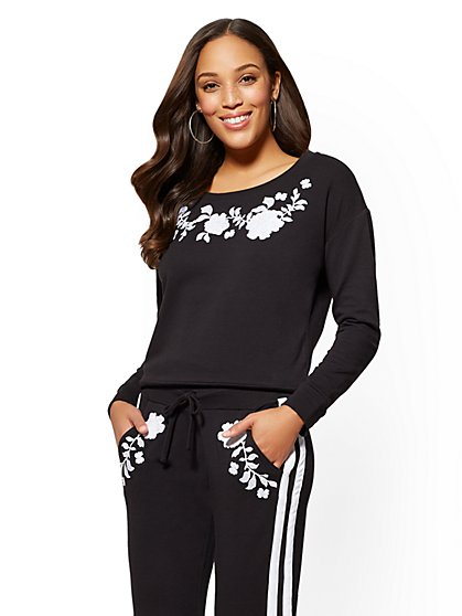 Soho Street - Floral-Embroidered Sweatshirt - Black - New York & Company