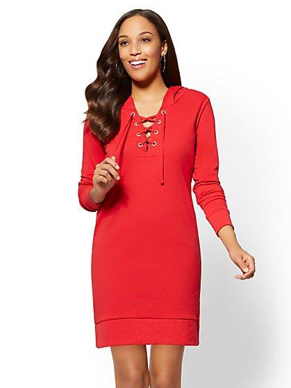 Soho Street - Grommet Lace-Up Hooded Shift Dress - New York & Company