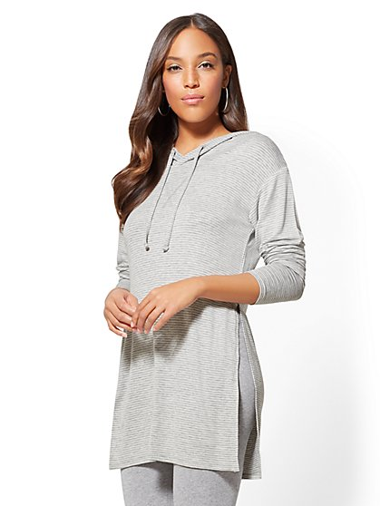 Soho Street - Hooded Tunic Top - Stripe - New York & Company