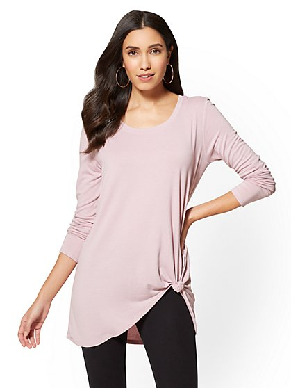 Soho Street - Knot-Front Hi-Lo Tunic Top - New York & Company