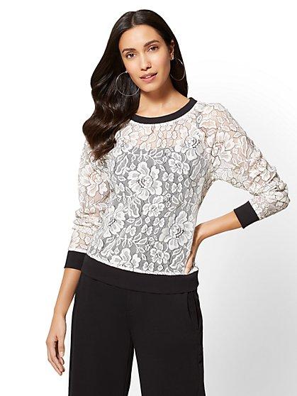 Soho Street - Lace-Overlay Sweatshirt - New York & Company
