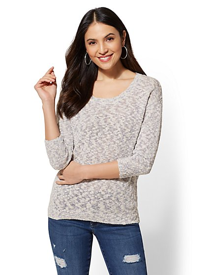 Soho Street - Marled-Knit Scoopneck Sweater - New York & Company