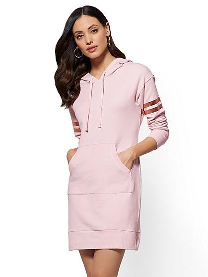 Soho Street - Metallic-Foil Stripe Hooded Sweatshirt Dress - New York & Company
