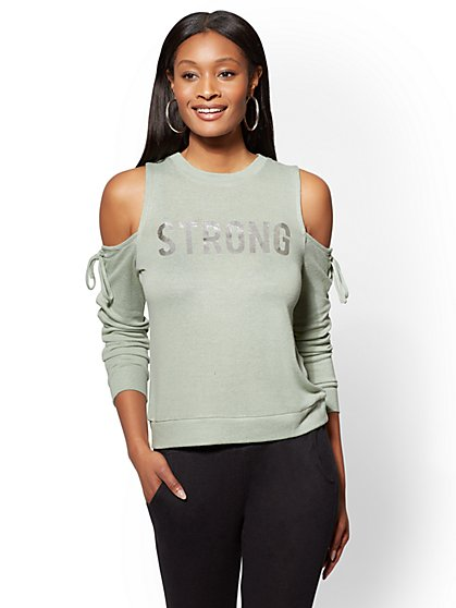"""Soho Street - Metallic Foil """"Strong"""" Cold-Shoulder Lace-Up Sweater - New York & Company"""