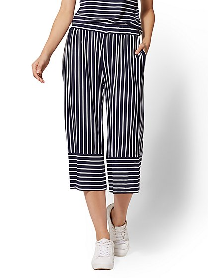 Soho Street - Navy Stripe Pull-On Gaucho Pant - New York & Company