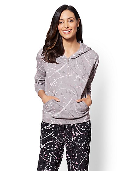 Soho Street - Paint-Splatter Hooded Half-Zip Sweatshirt - New York & Company