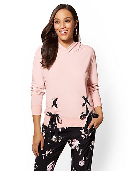 Soho Street - Pink Lace-Up Hooded Sweatshirt - New York & Company