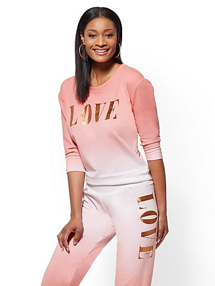"Soho Street - Pink Ombre ""Love"" Sweatshirt - New York & Company"