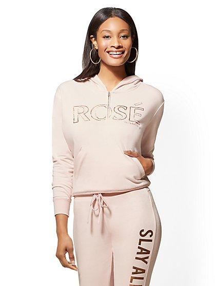 "Soho Street - Pink ""Rose"" Half-Zip Hooded Sweatshirt - New York & Company"