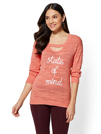 "Soho Street - Pink ""State of Mind"" Cutout-Detail Sweater - New York & Company"