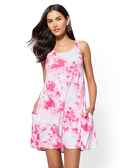Soho Street - Pink Tie-Dye Swing Dress - New York & Company