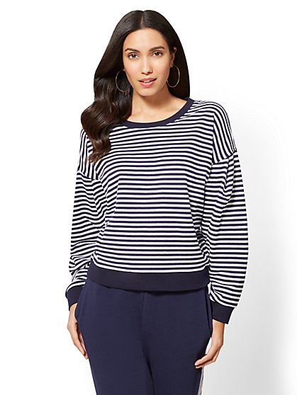 Soho Street - Pleated-Sleeve Scoopneck Top - Stripe - New York & Company